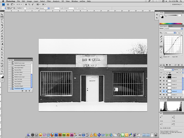 Screenshot of Photoshop CS4 with a black and white image that has been contrast corrected with curves adustments.