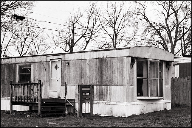 Vacant mobile home in a trailer park.