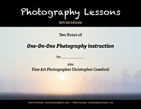 Gift certificate for photography lessons