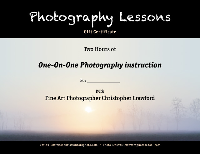 Gift Certificate for crawfordphotoschool photography lessons