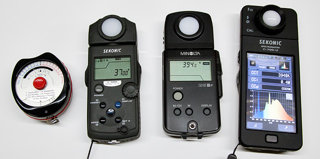 Color Temperature Meters. A Gossen Sixticolor, Minolta Color Meter IIIF, Sekonic C500, and Sekonic C700 Spectrometer.